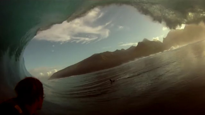 Laurie Towner getting shacked at Teahupoo while filming for Point Break 2