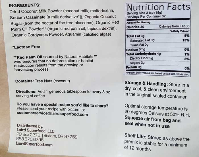 Laird Superfood Creamer ingredients