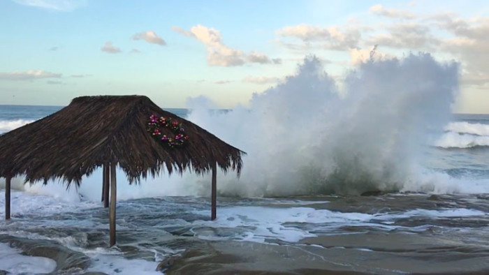 Windansea Shack Hit by Wave