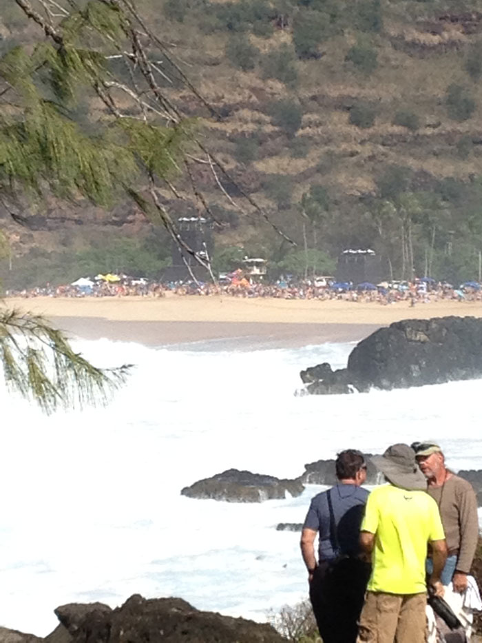Crowds packed onto the beach at Waimea