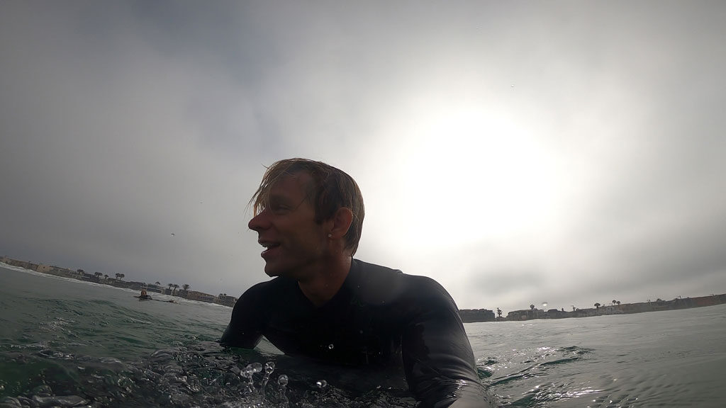 Surfing in my Premier Lux wetsuit