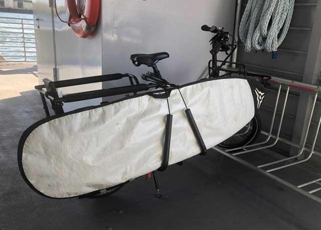 Cargo bike with surfboard rack
