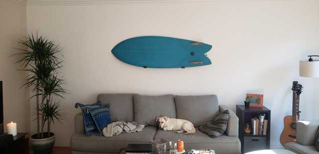 Fish surfboard hanging on wall