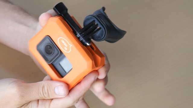 GoPro floaty case used with mouth mount