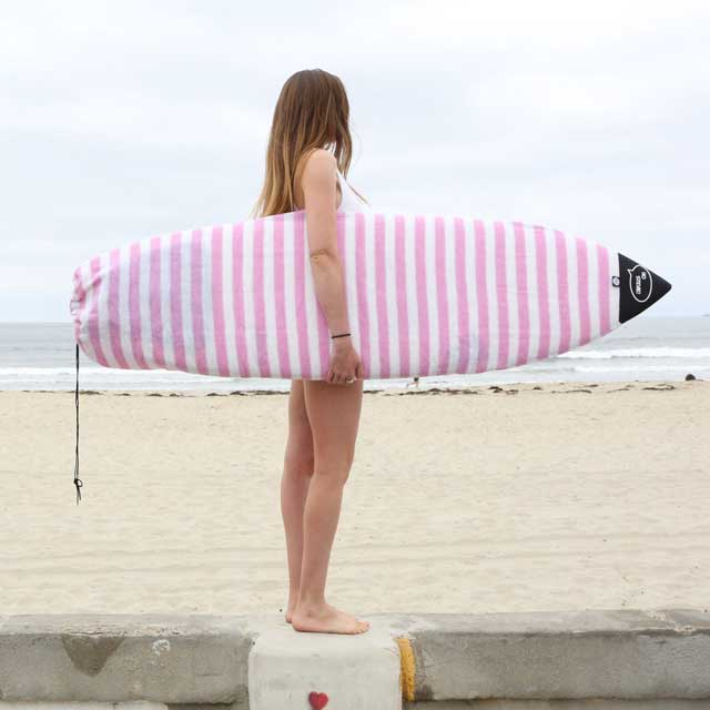 Pink and White striped surfboard sock