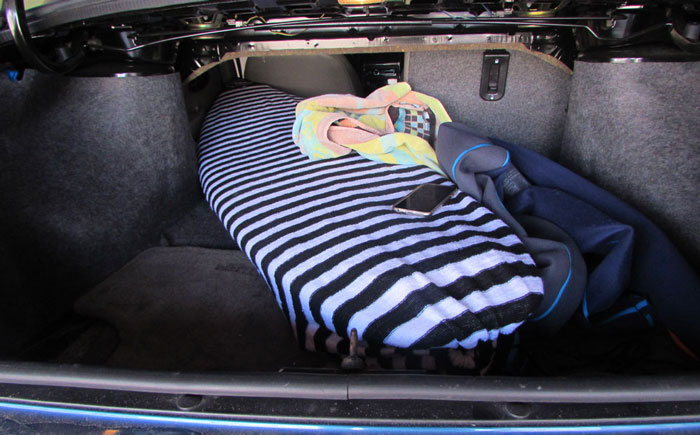 Surfboard Sock keeps the wax off your car's interior