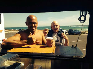 Kelly Slater getting coffee